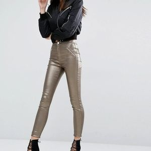 ASOS Missguided gold silver metallic vice jeans
